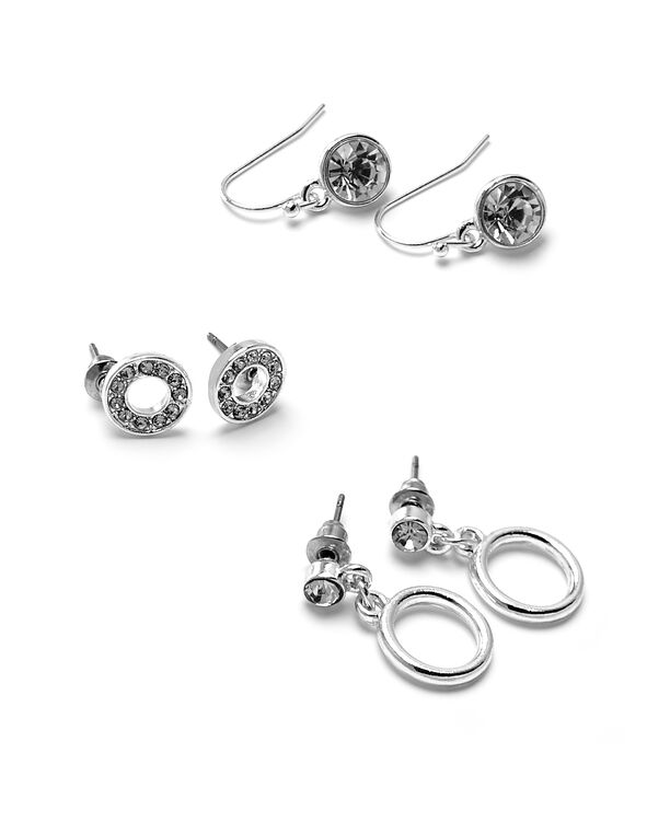 Silver Circle Trio Earring Set, Silver, hi-res