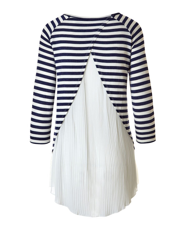 Pleated Chiffon Stripe Top, Navy/White, hi-res