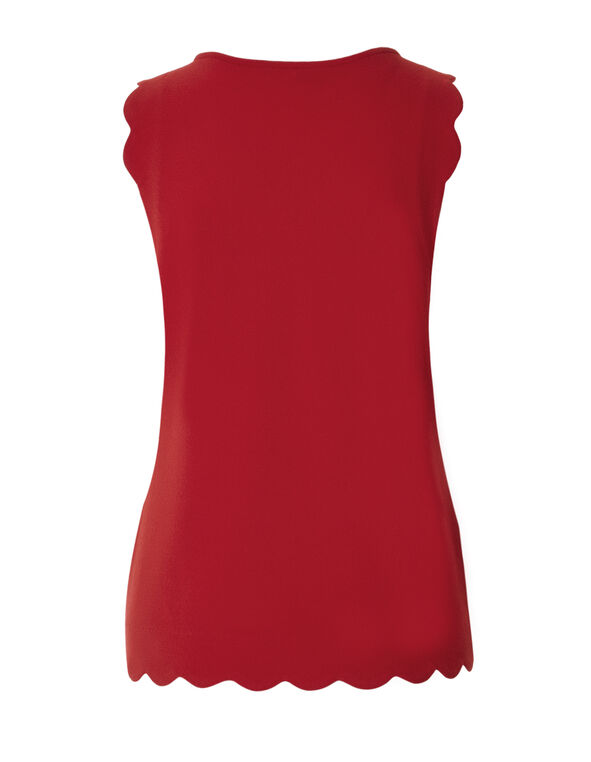 Red Scalloped Edge Top, Red, hi-res