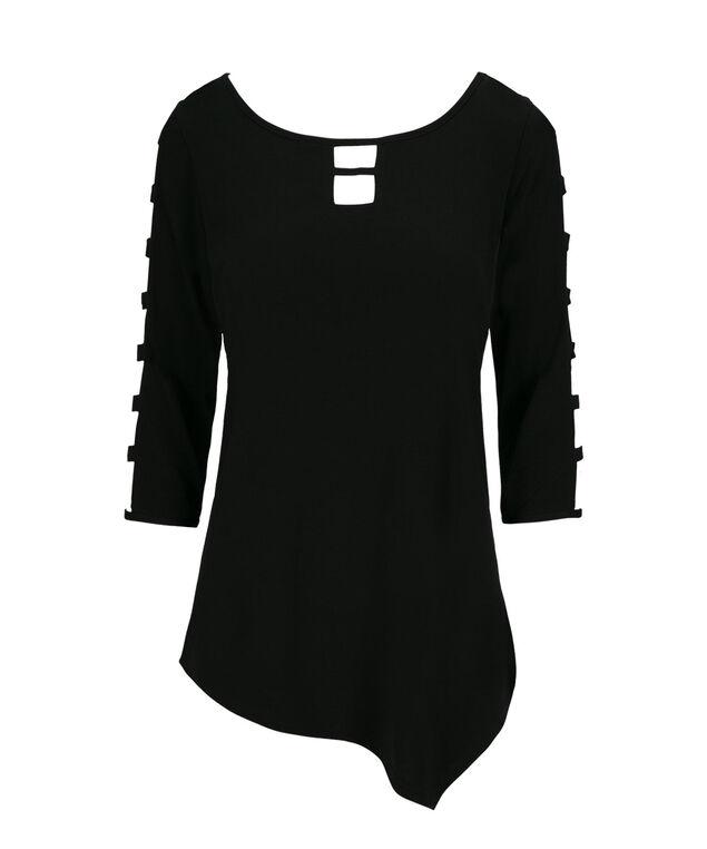 Asymmetrical Cage Sleeve Top, Black, hi-res