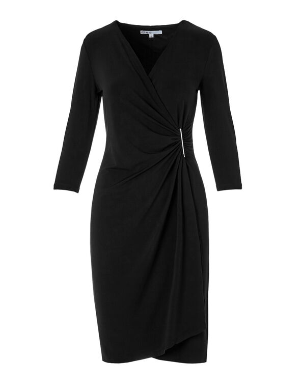 Black Faux Wrap Shift Dress, Black, hi-res