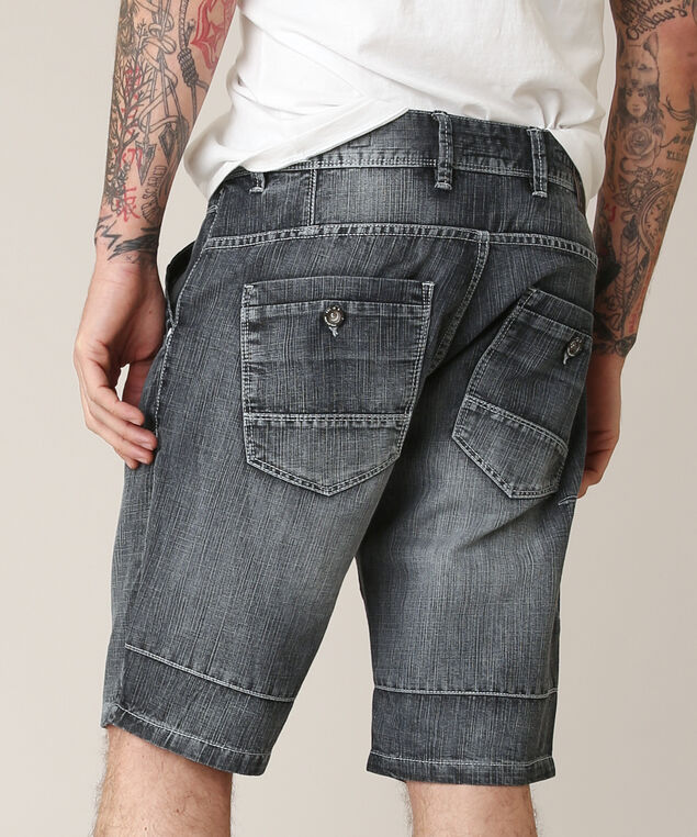 denim short 130172, BLACK, hi-res