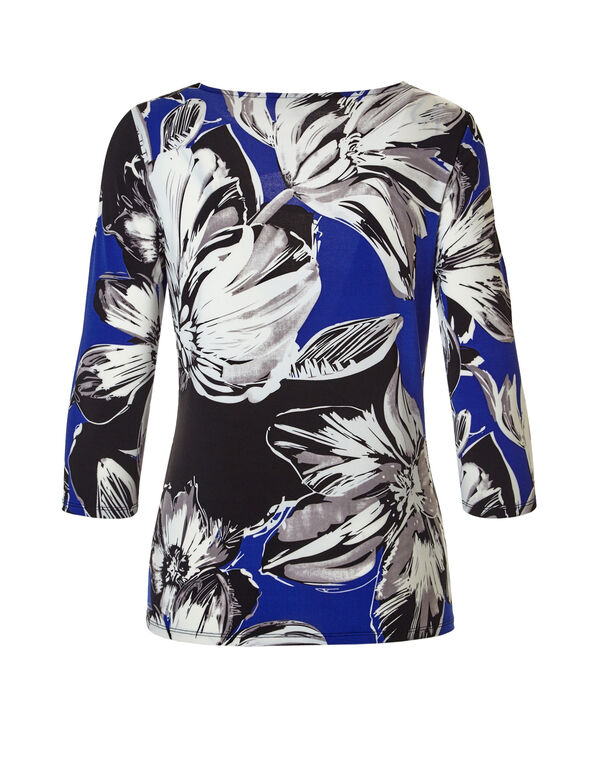 Floral Print 3/4 Sleeve Keyhole Top, Royal Blue/Black/Ivory, hi-res