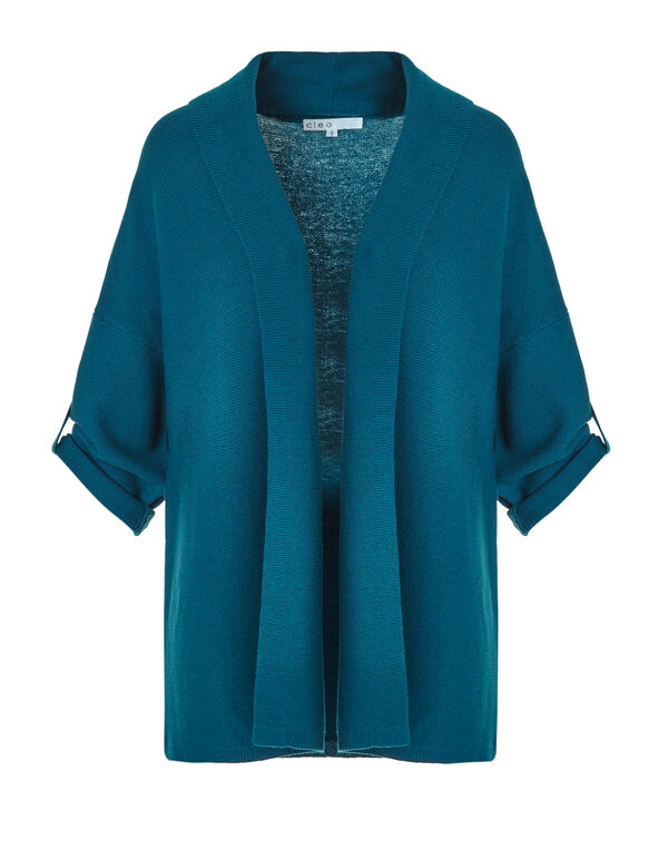 Turquoise Roll Up Cardigan Sweater, Dark Turquoise, hi-res