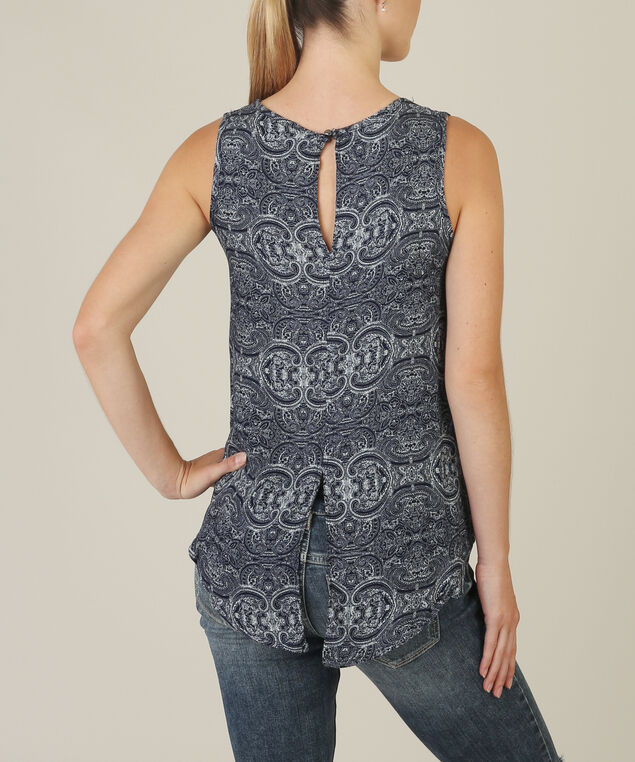 split hem top - wb, NAVY PRINT, hi-res