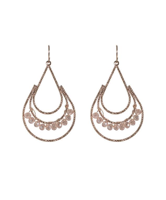 Teardrop Crystal Earring, Blush/Rose Gold, hi-res