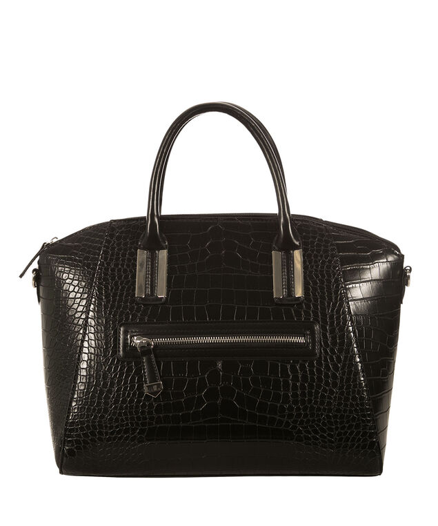 Crocodile Trapezoid Bag, Black, hi-res