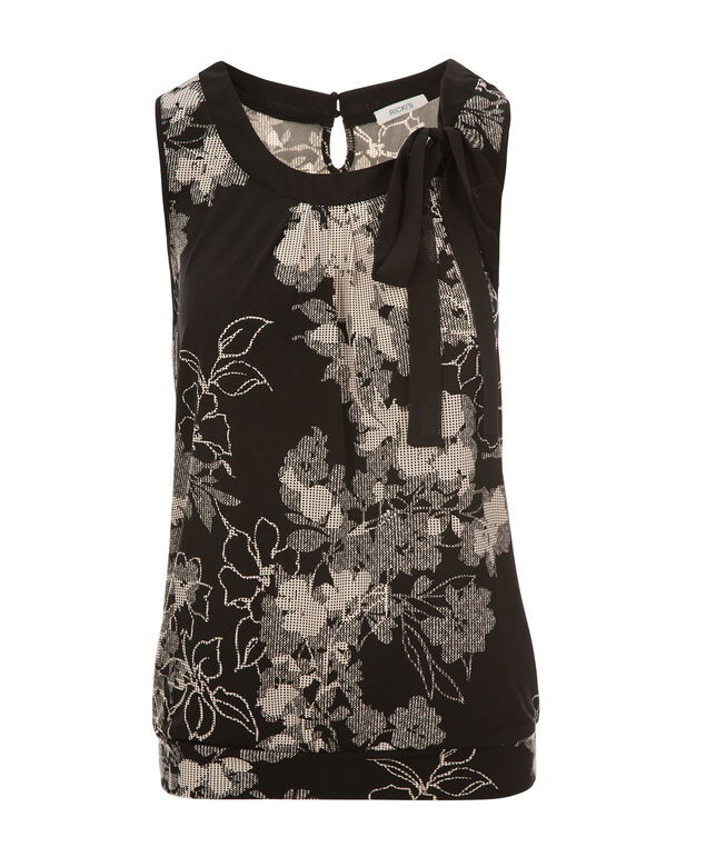 Black Floral Tie Neck Tank, Black Print, hi-res
