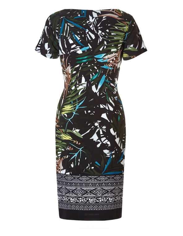 Palm Print Shift Dress, Black/Blue/Olive/Yellow, hi-res