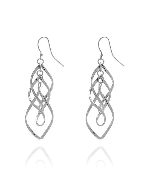Silver Spiral Drop Earring, Silver, hi-res