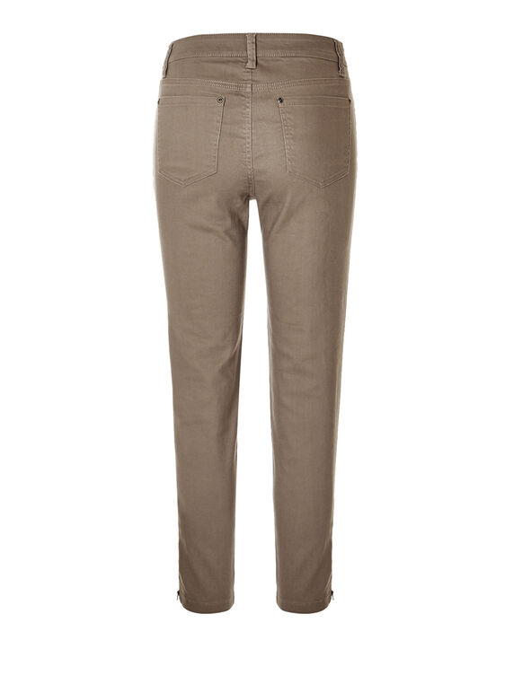 Dark Taupe Zipper Ankle Jeans, Dark Taupe, hi-res