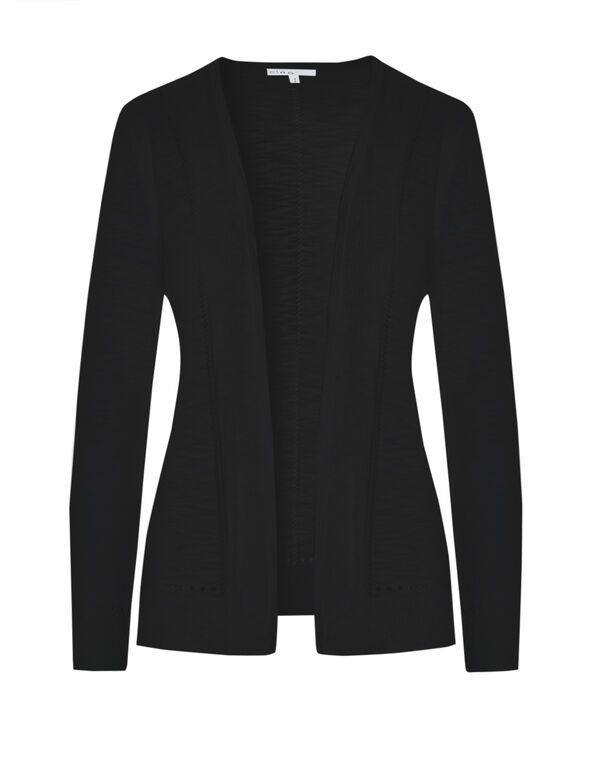Black Front Pleated Cardigan, Black, hi-res
