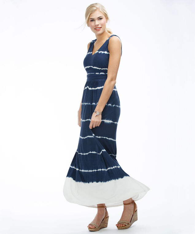 Tie Dye Maxi Dress, Blue/White Print, hi-res