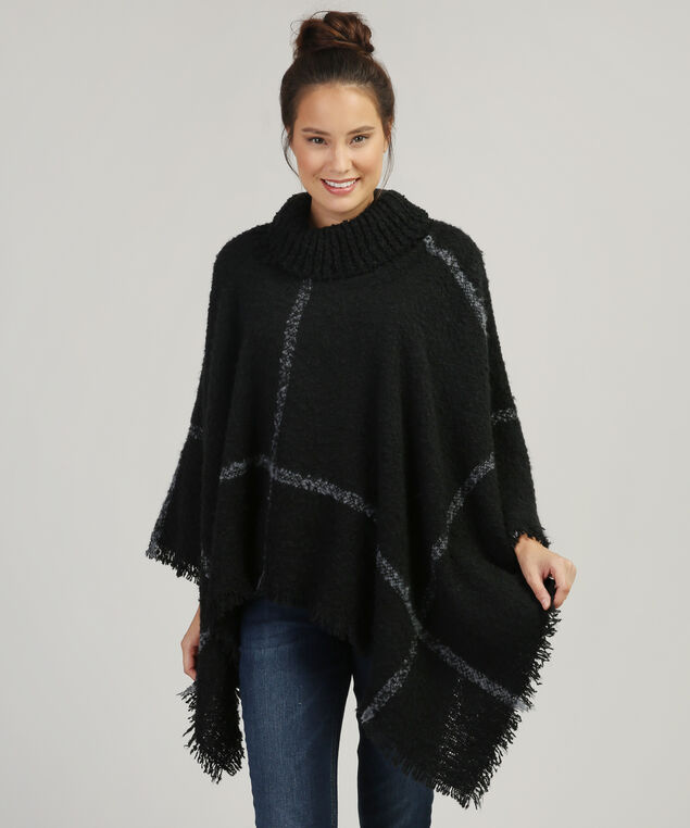 cowl neck poncho with fringe, BLACK, hi-res