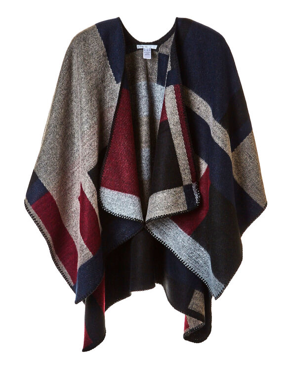 Navy Colour Block Poncho, Navy/Biscuit/Claret/White/Black, hi-res