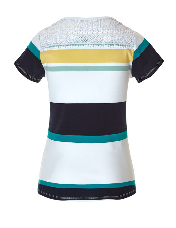 Stripe Crisscross Crochet Tee, White/Yellow/Mint/Navy, hi-res