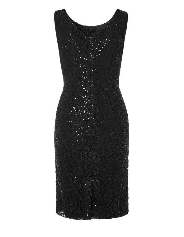 Black Sequin Lace Shift Dress, Black, hi-res