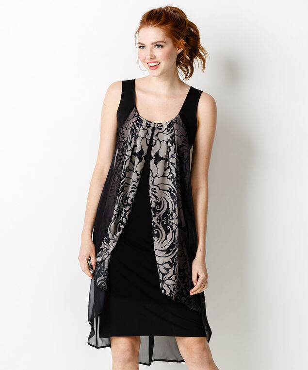 Chiffon Overlay Dress, Black/White Print, hi-res