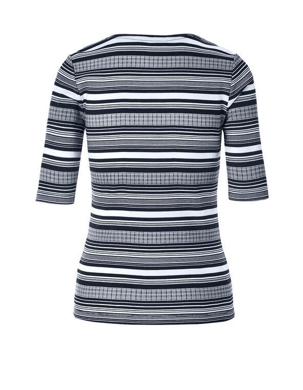 Navy Stripe Elbow Sleeve Tee, Navy Stripe, hi-res