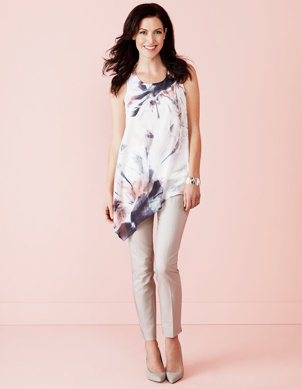 Asymmetrical Floral Tunic Top, White/Black/Peony, hi-res