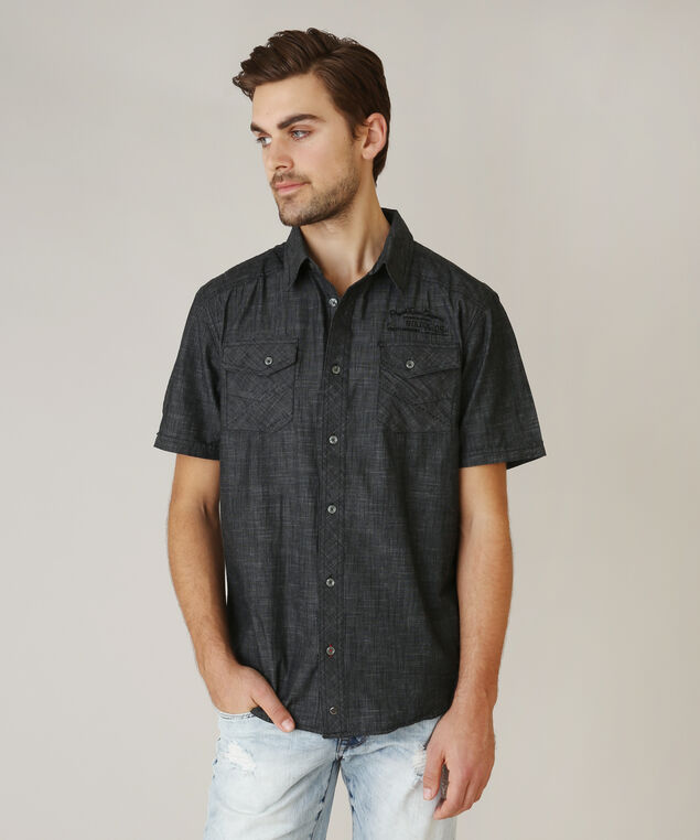 button front shirt, BLACK, hi-res