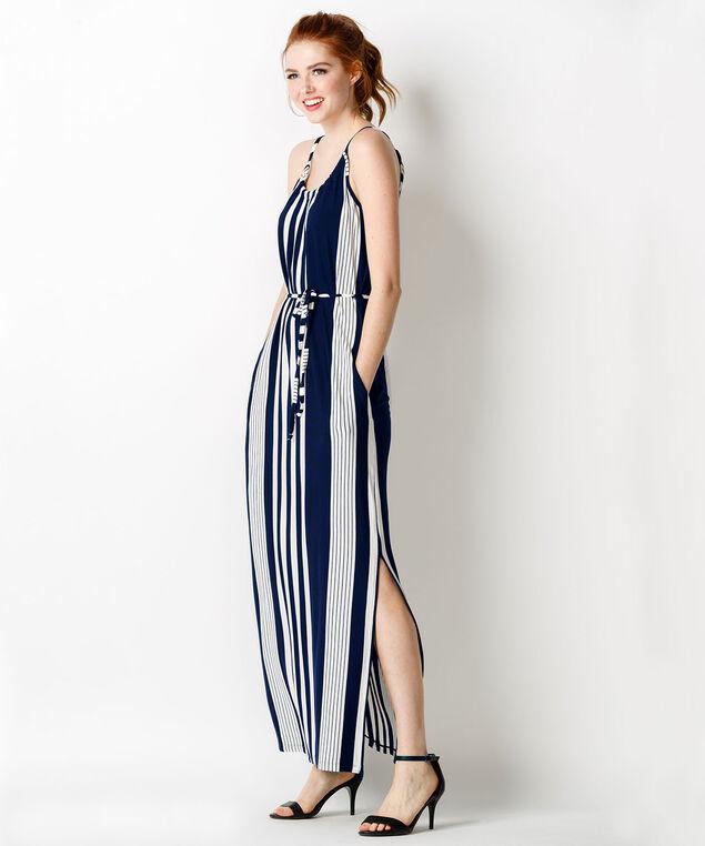 Vertical Stripe Maxi Dress, White/Navy Stripe, hi-res