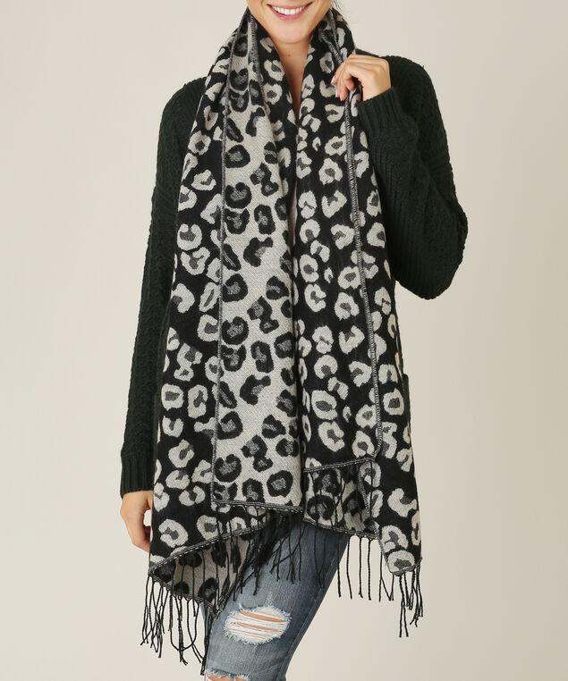 leopard blanket scarf, BLACK/GREY, hi-res