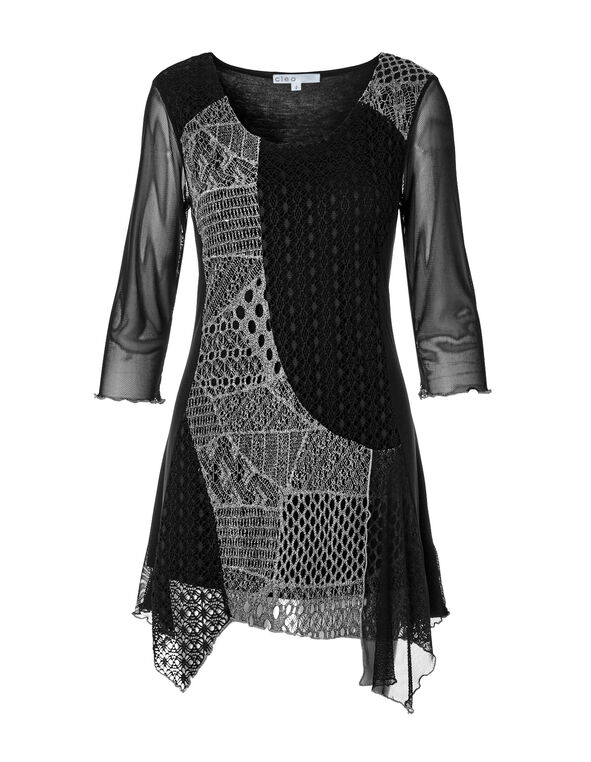 Mixed Knit Tunic, Black/Ivory, hi-res