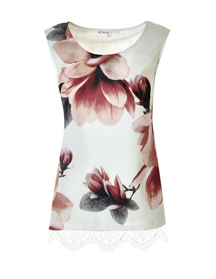 Sleeveless Floral Print Lace Top, Pink/Grey/Ivory, hi-res