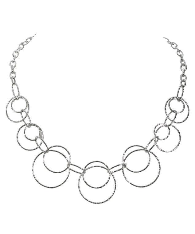 Textured O-Ring Necklace, Rhodium, hi-res