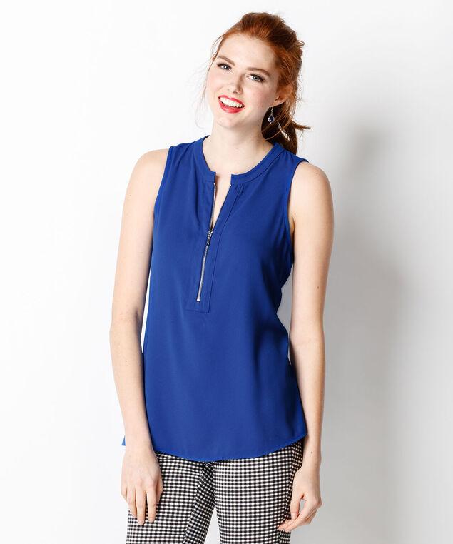 Zip Front Knit Tank, Sapphire, hi-res