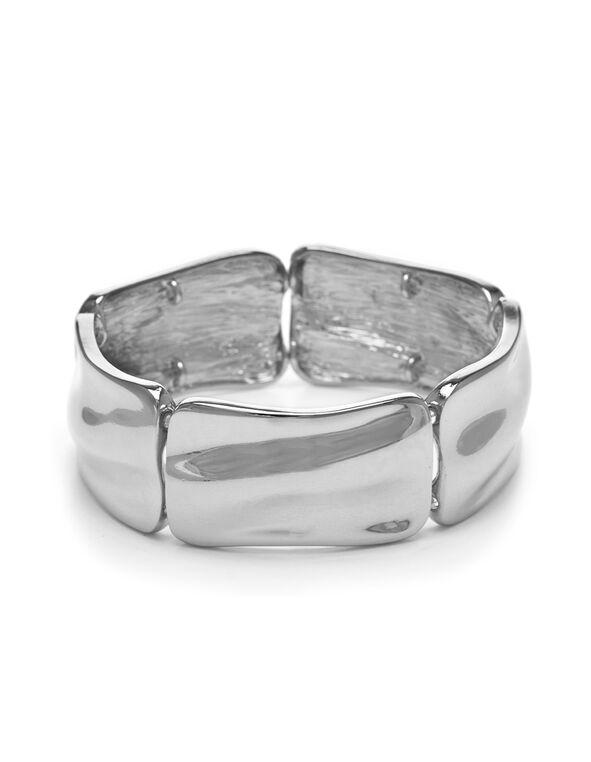Hammered Pendant Stretch Bracelet, Rhodium, hi-res