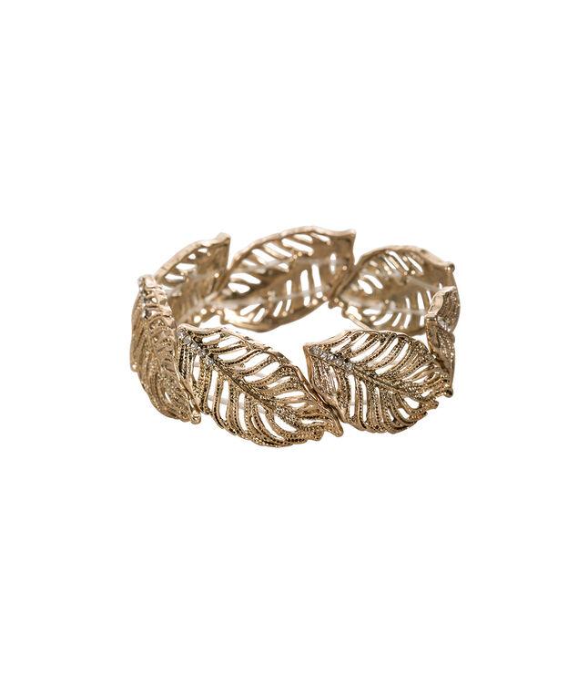 Leaf Stretch Bracelet, Soft Gold, hi-res