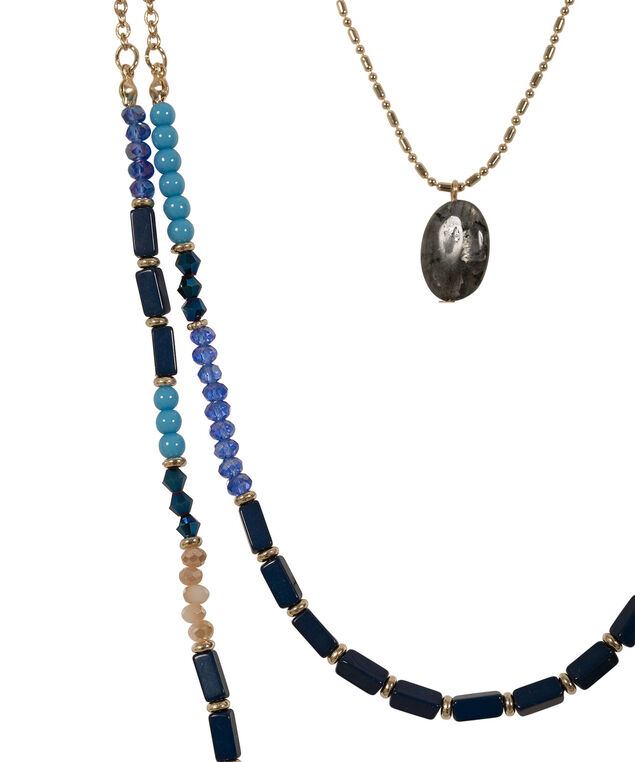 Bead & Stone Layered Necklace, Blue/Antique Gold, hi-res