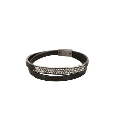 Metal Bar Wrap Bracelet, Black/Hematite, hi-res
