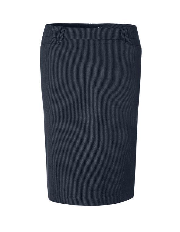 Pinstripe Pencil Skirt, Navy/White, hi-res