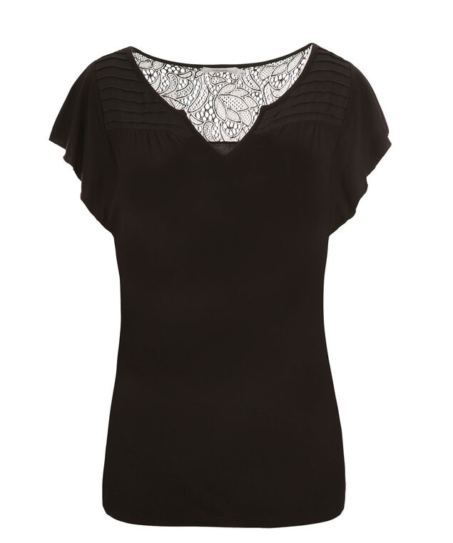 Flutter Sleeve Crochet Back, Black, hi-res