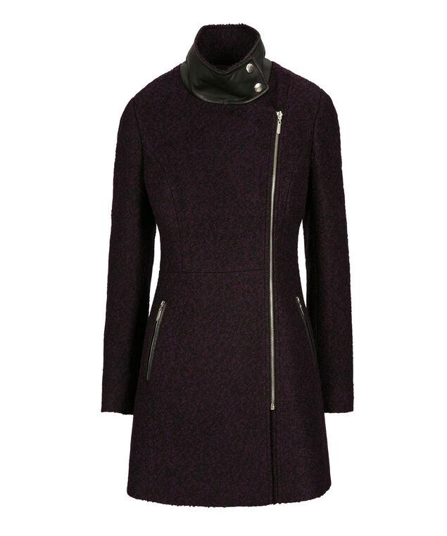 Purple Boucle Coat, Plum/Black, hi-res