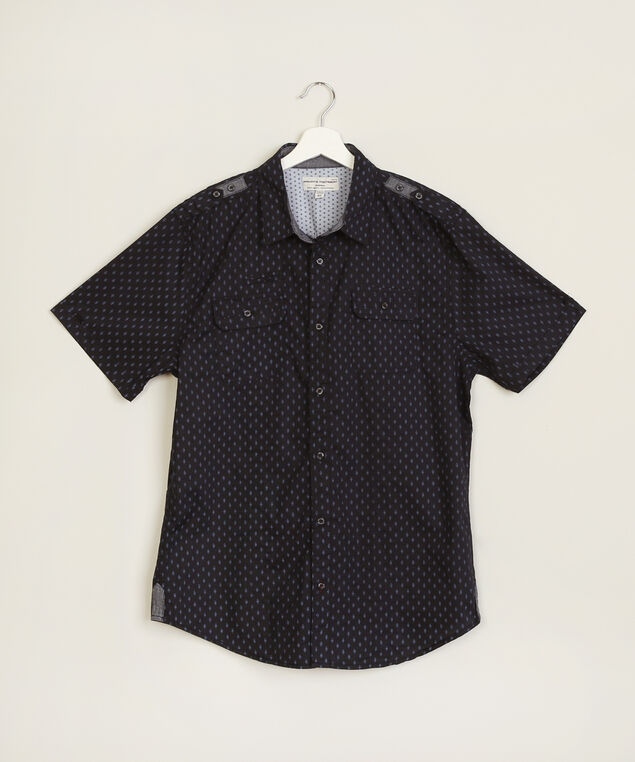 diamond print shirt, NAVY, hi-res