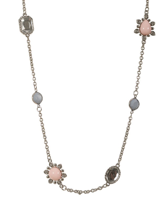 Stationed Bead & Stone Necklace, Misty Blue/Pink Blush, hi-res