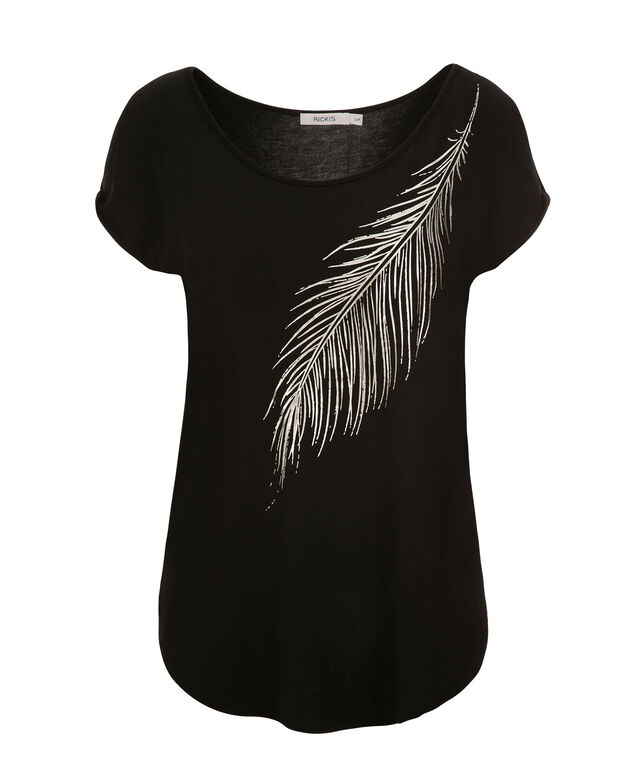 Silver Feather Cold Shoulder, Black Print, hi-res