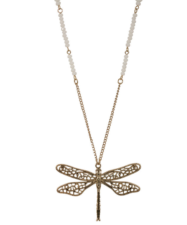 Dragonfly Pendant Necklace, White/Antique Gold, hi-res
