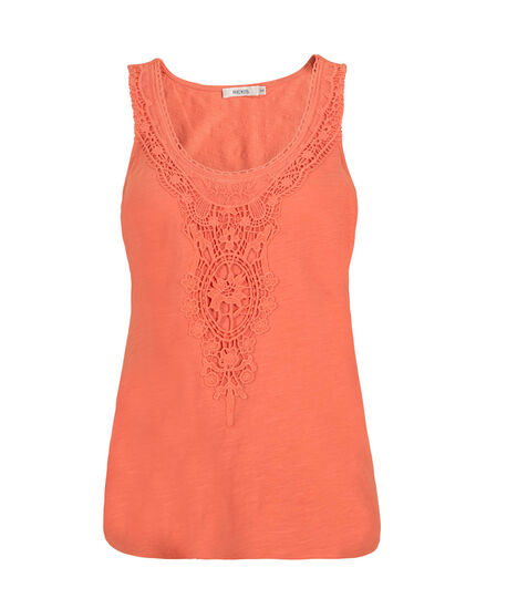 Crochet Detail Tank, Peach, hi-res