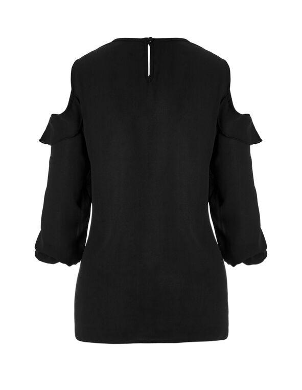 Ruffle Cold Shoulder Blouse, Black, hi-res