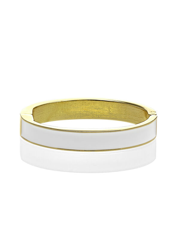 White Bangle Bracelet, Gold/White, hi-res
