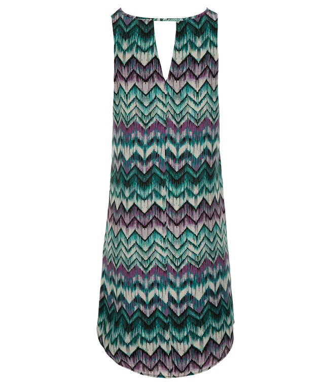 Keyhole Trapeze Dress, Purple/Teal, hi-res