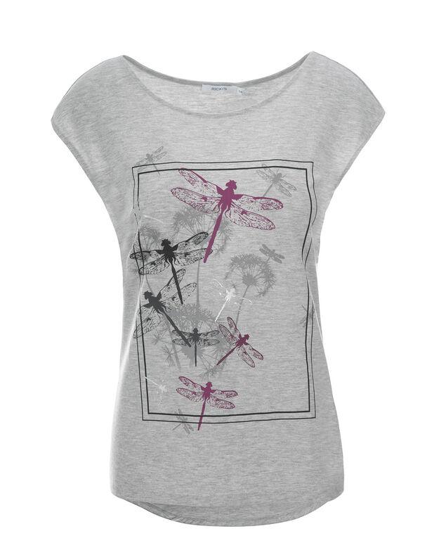 Extended Shoulder Dragonfly Top, Grey Print, hi-res