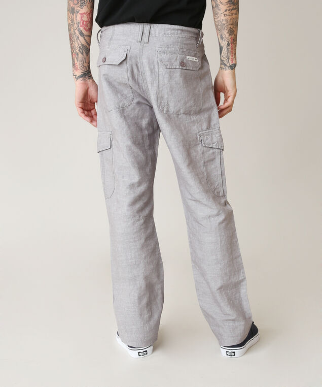 linen cargo pant, GREY MIX, hi-res