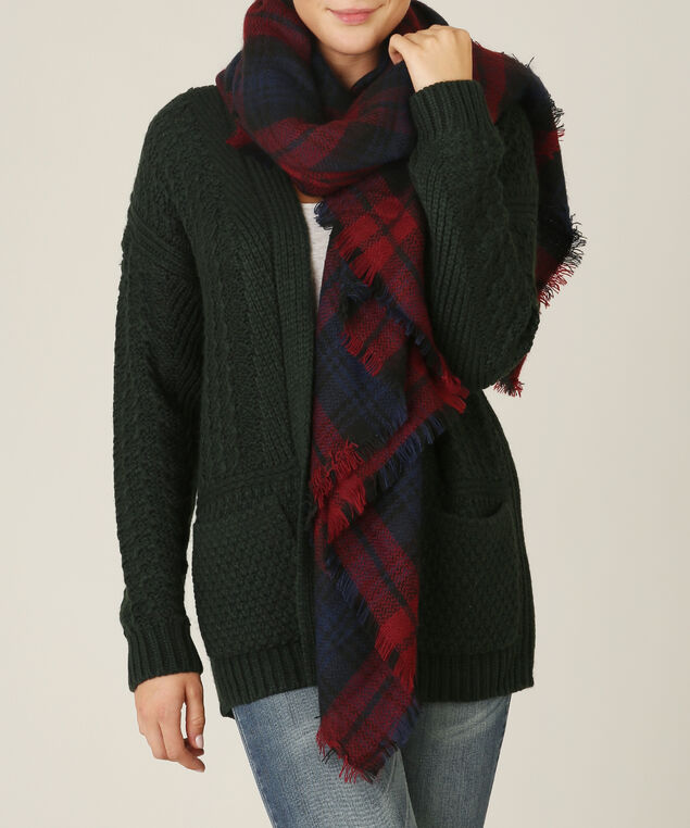 classic plaid blanket scarf, RED/NAVY, hi-res