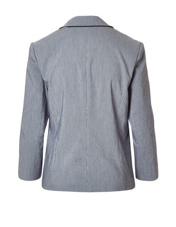 Seersucker 3/4 Sleeve Blazer, Navy/White, hi-res